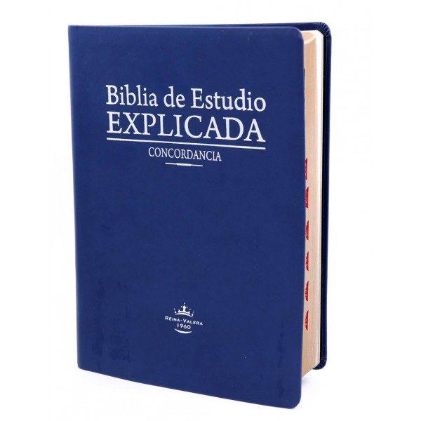 BIBLIA RVR60 ESTUDIO EXPLICADA PIEL ESPECIAL AZUL INDICE