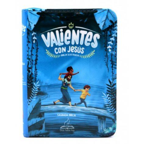 BIBLIA DHH VALIENTES CON JESUS AZUL